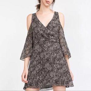 Zara Snake Skin-like Printed Off-Shoulder Dress